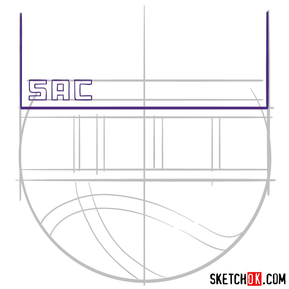 How to draw Sacramento Kings logo (NBA logos) - step 04