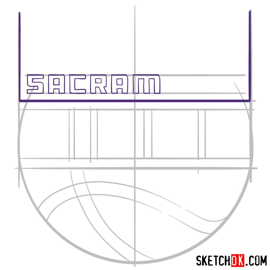 How to draw Sacramento Kings logo (NBA logos) - step 05