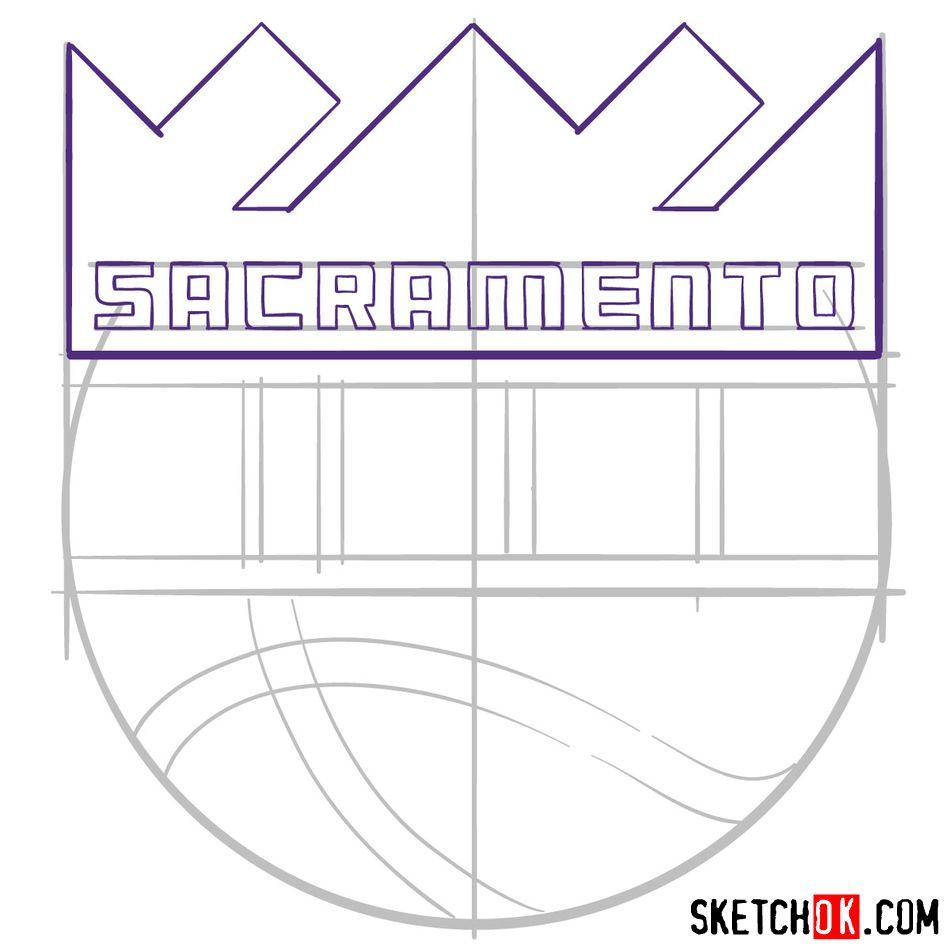 How to draw Sacramento Kings logo (NBA logos) - step 07