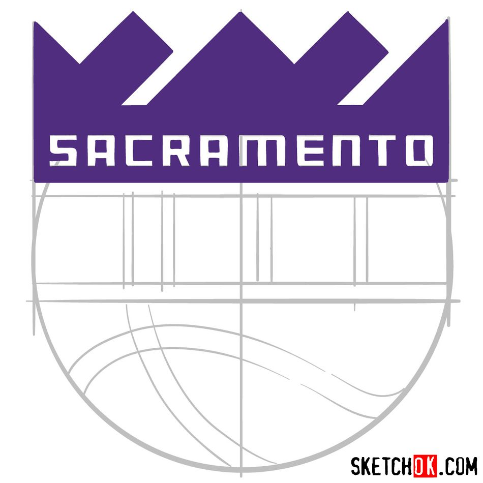 How to draw Sacramento Kings logo (NBA logos) - step 08