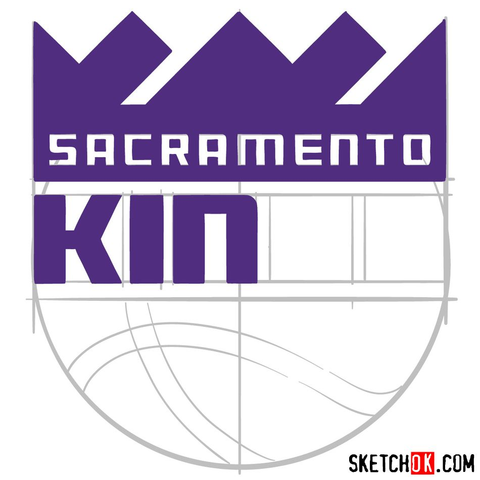 How to draw Sacramento Kings logo (NBA logos) - step 09