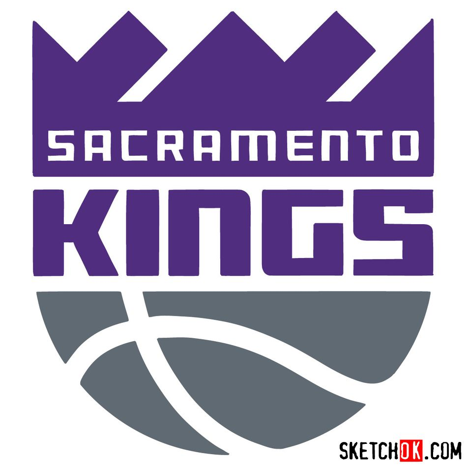 How to draw Sacramento Kings logo (NBA logos) - coloring