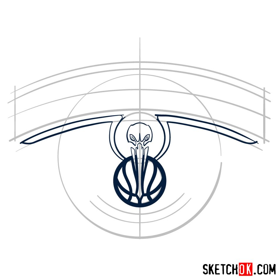 How to draw New Orleans Pelicans logo - step 05