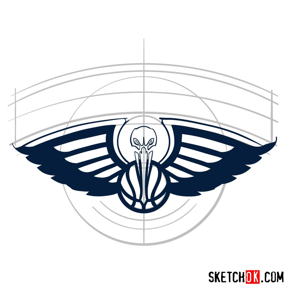 How to draw New Orleans Pelicans logo - step 06