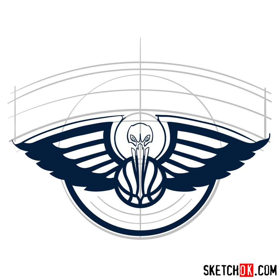 How to draw New Orleans Pelicans logo - step 07