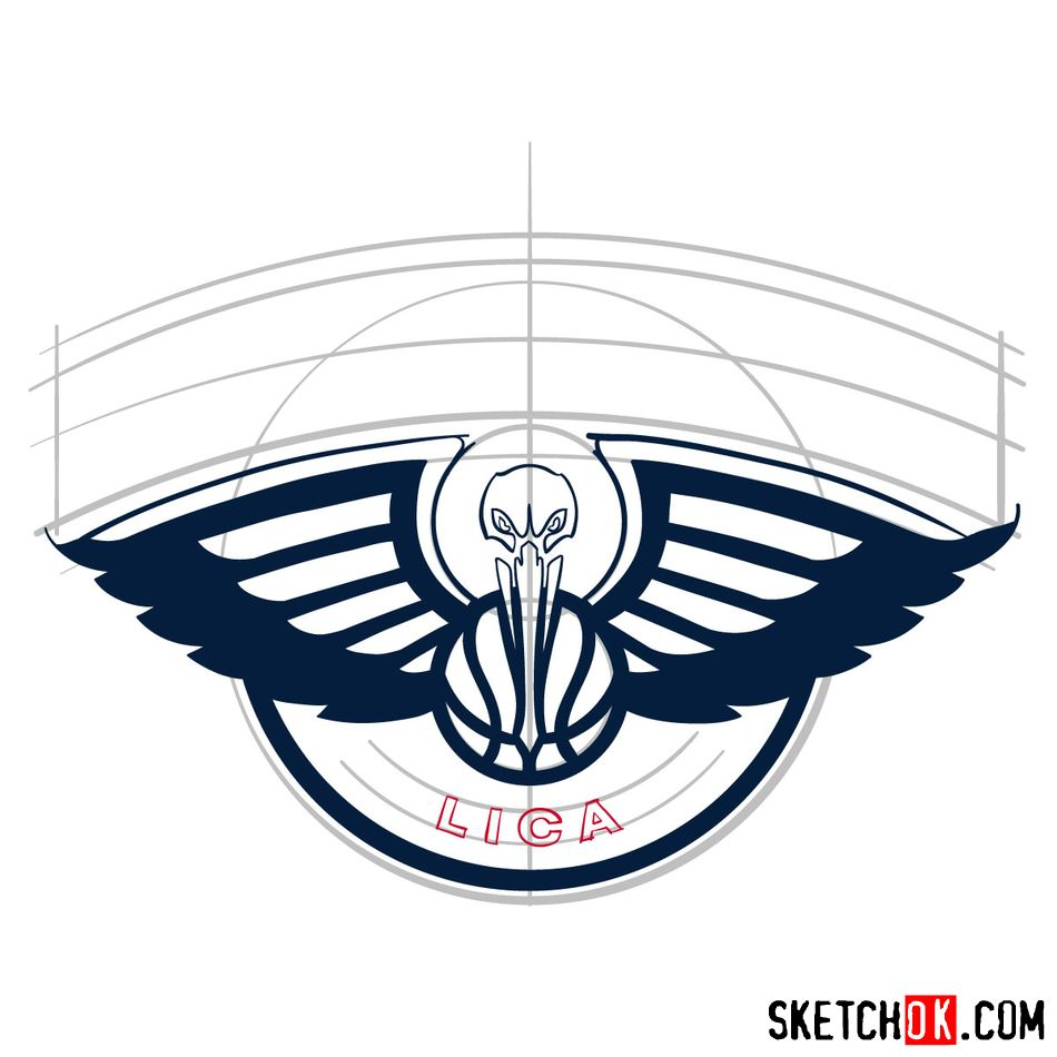 How to draw New Orleans Pelicans logo - step 08