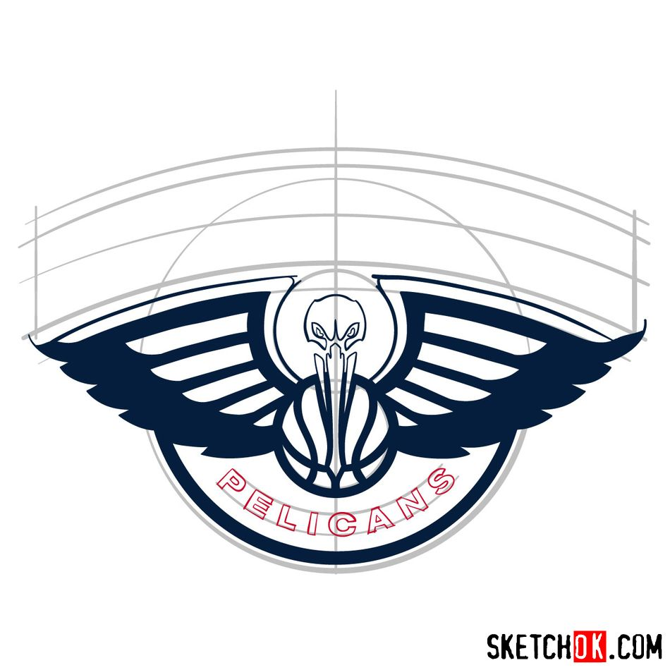 How to draw New Orleans Pelicans logo - step 09