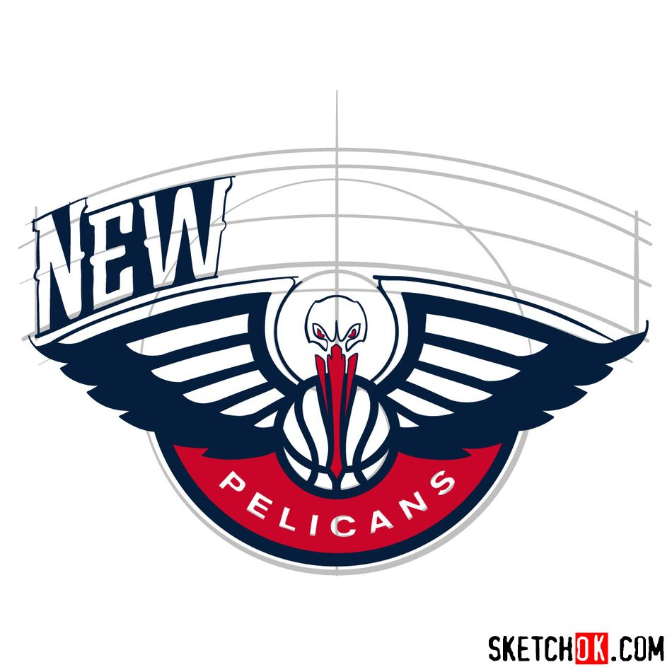 How to draw New Orleans Pelicans logo - step 11