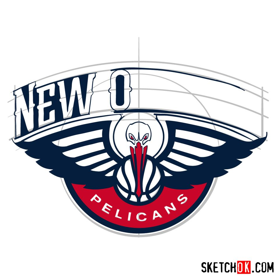 How to draw New Orleans Pelicans logo - step 12