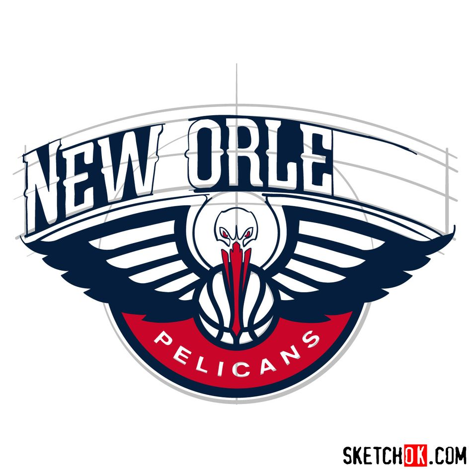 How to draw New Orleans Pelicans logo - step 13