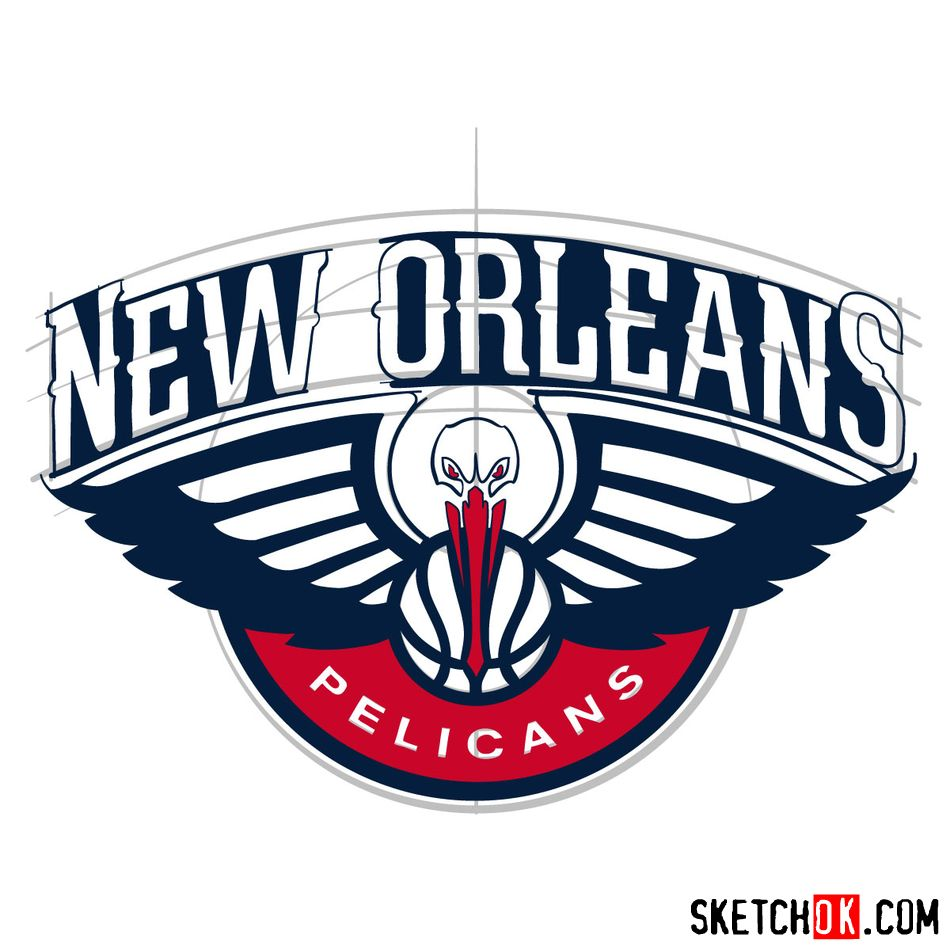 How to draw New Orleans Pelicans logo - step 14