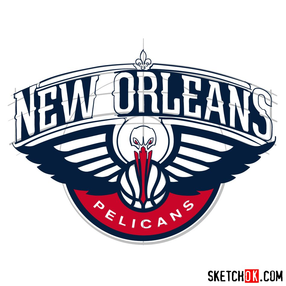 How to draw New Orleans Pelicans logo - step 15