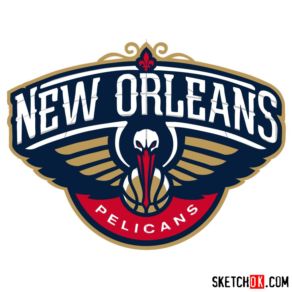 How to draw New Orleans Pelicans logo - step 17