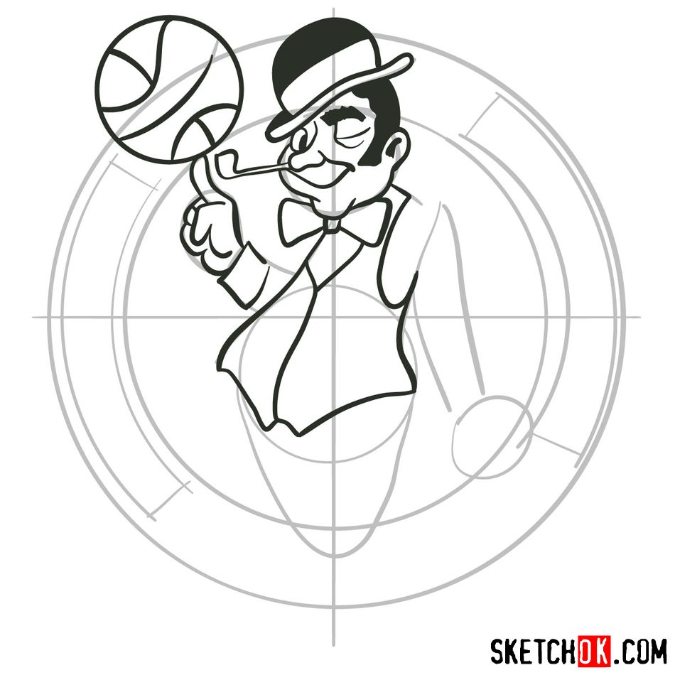 How to draw The Boston Celtics logo - step 07