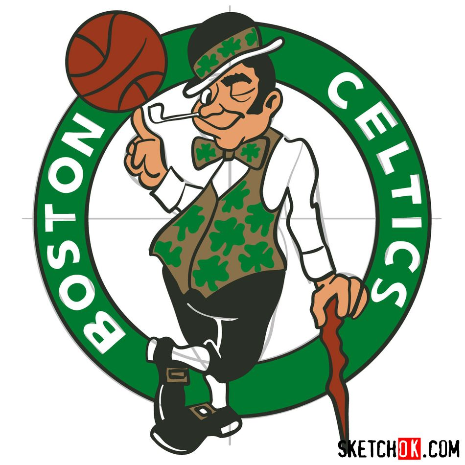 How to draw The Boston Celtics logo - step 17
