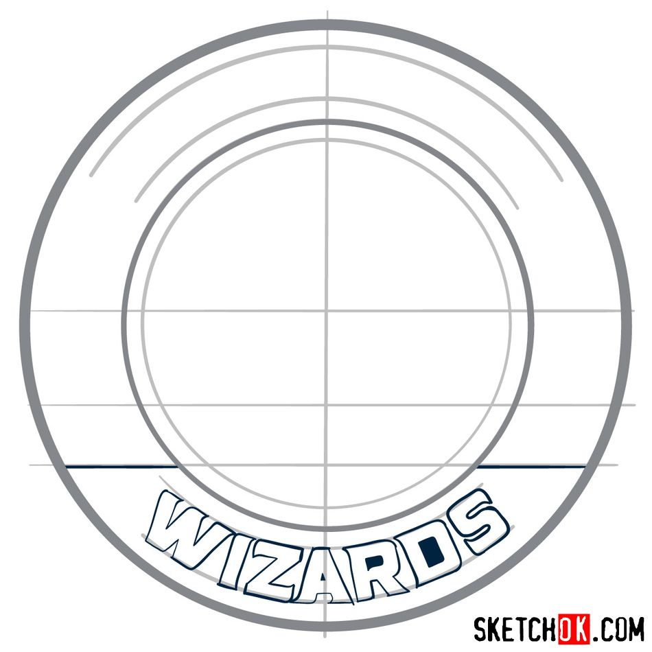 How to draw The Washington Wizards logo - step 06