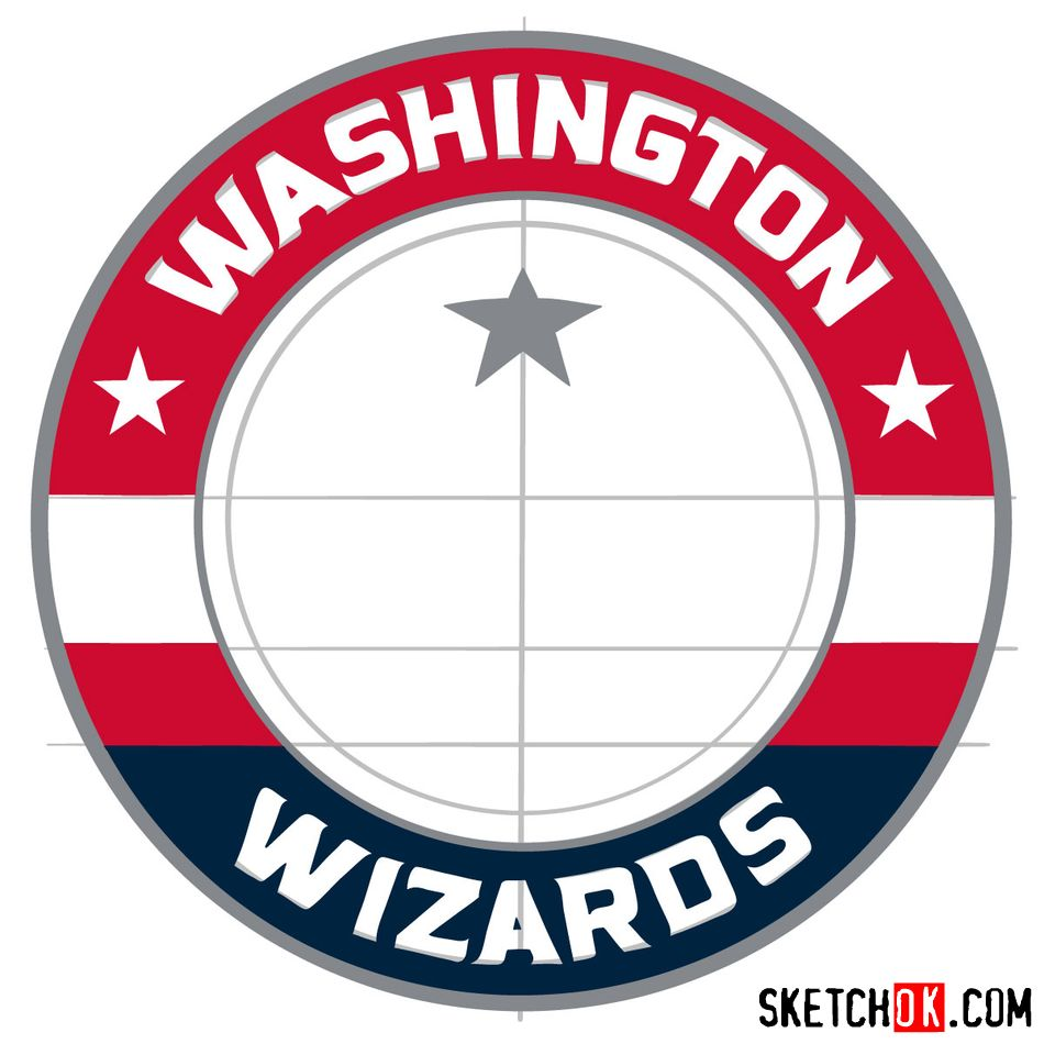 How to draw The Washington Wizards logo - step 12