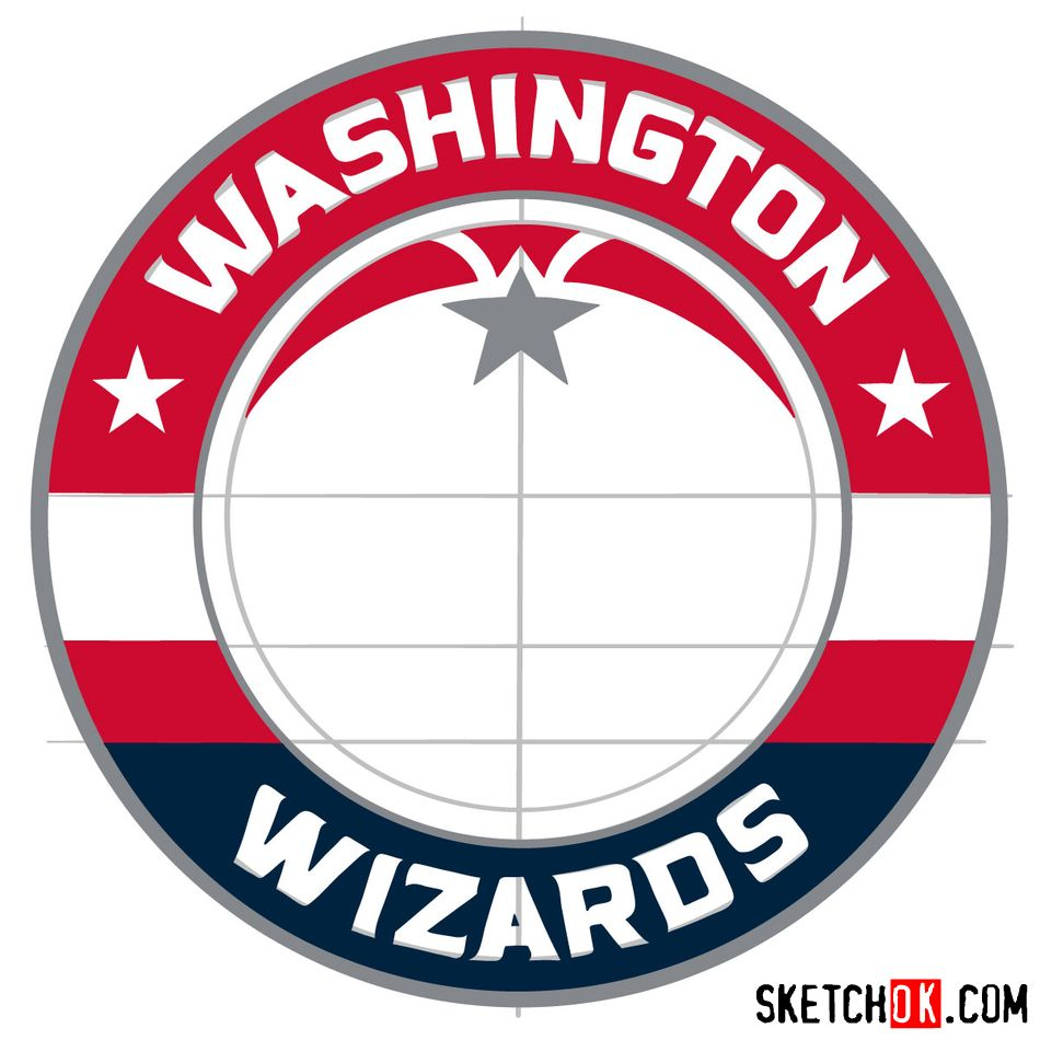 How to draw The Washington Wizards logo - step 13
