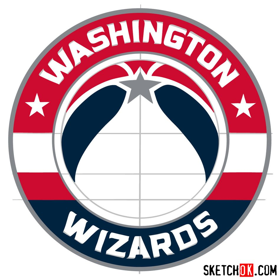 How to draw The Washington Wizards logo - step 14