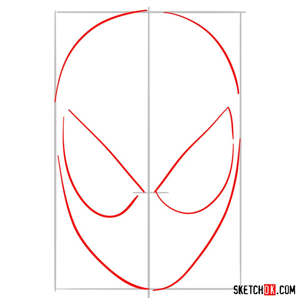 How to draw Spider-Man mask - step 02