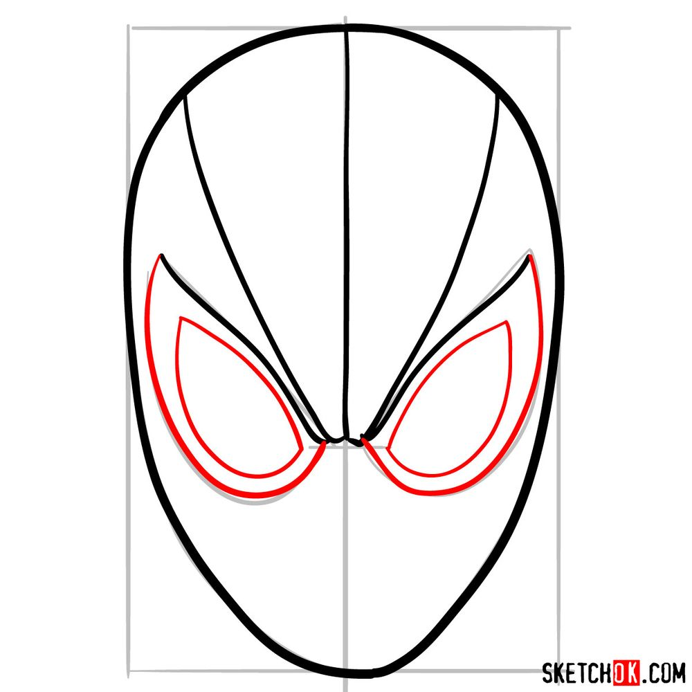 How to draw Spider-Man mask - step 06