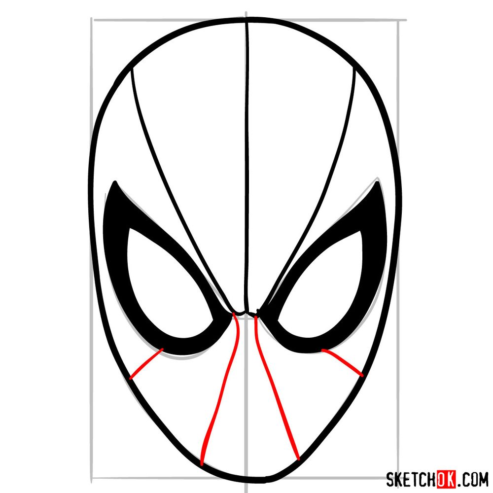 How to draw Spider-Man mask - step 08