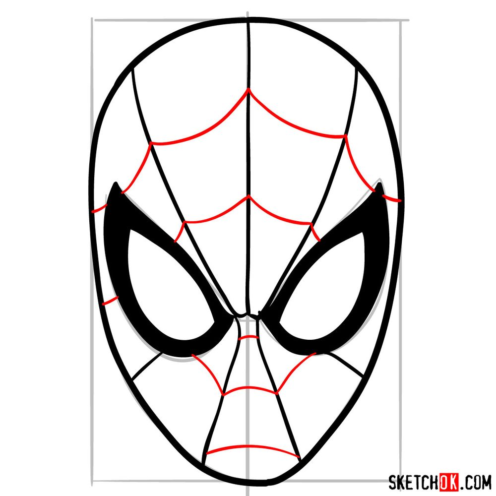 How to draw Spider-Man mask - step 09