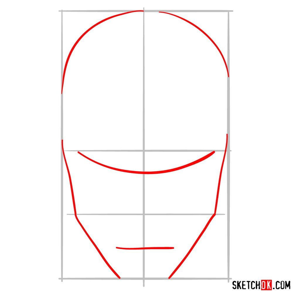 How to draw an Iron Man mask - step 02