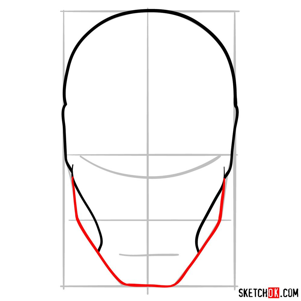 How to draw an Iron Man mask - step 05