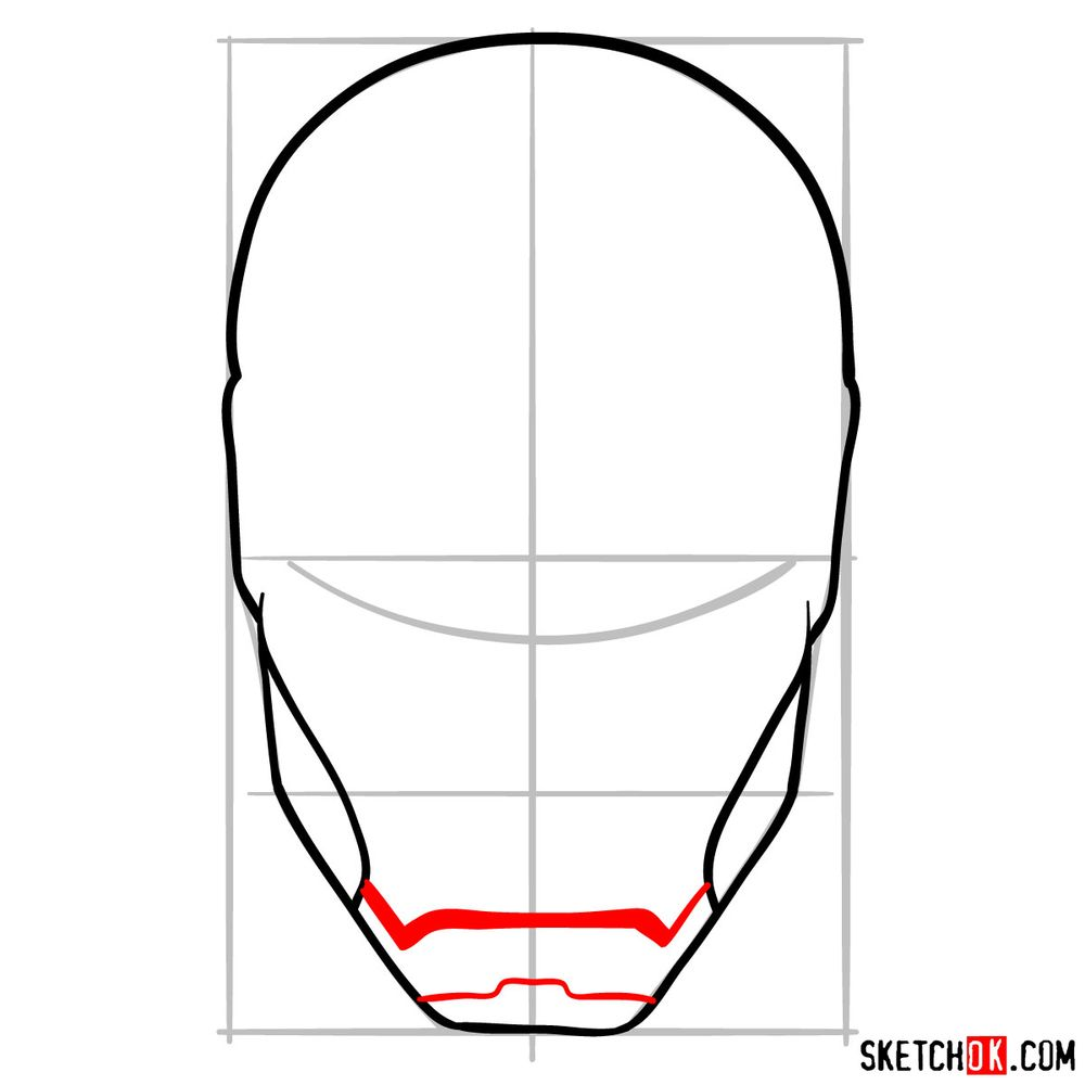 How to draw an Iron Man mask - step 06