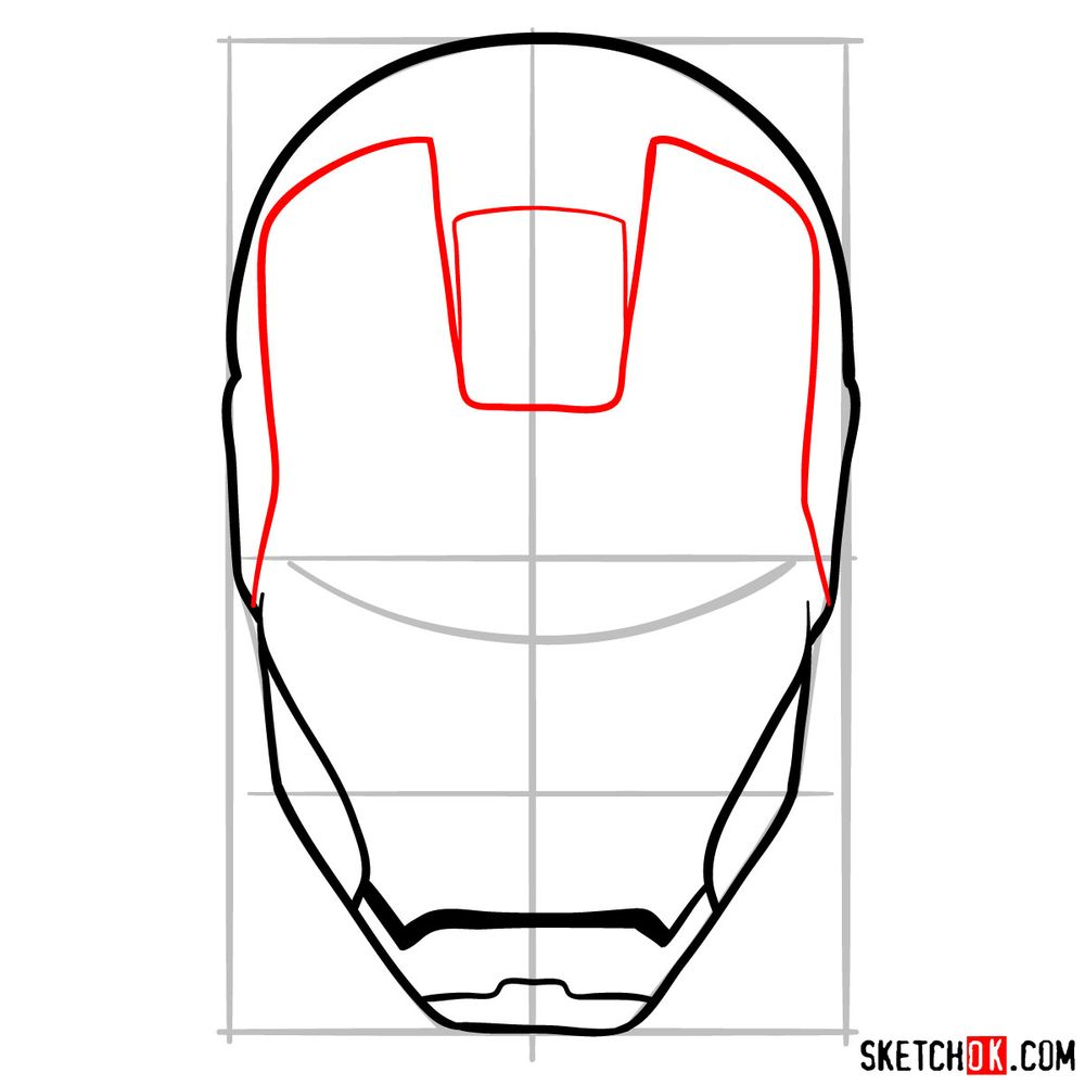 How to draw an Iron Man mask - step 07