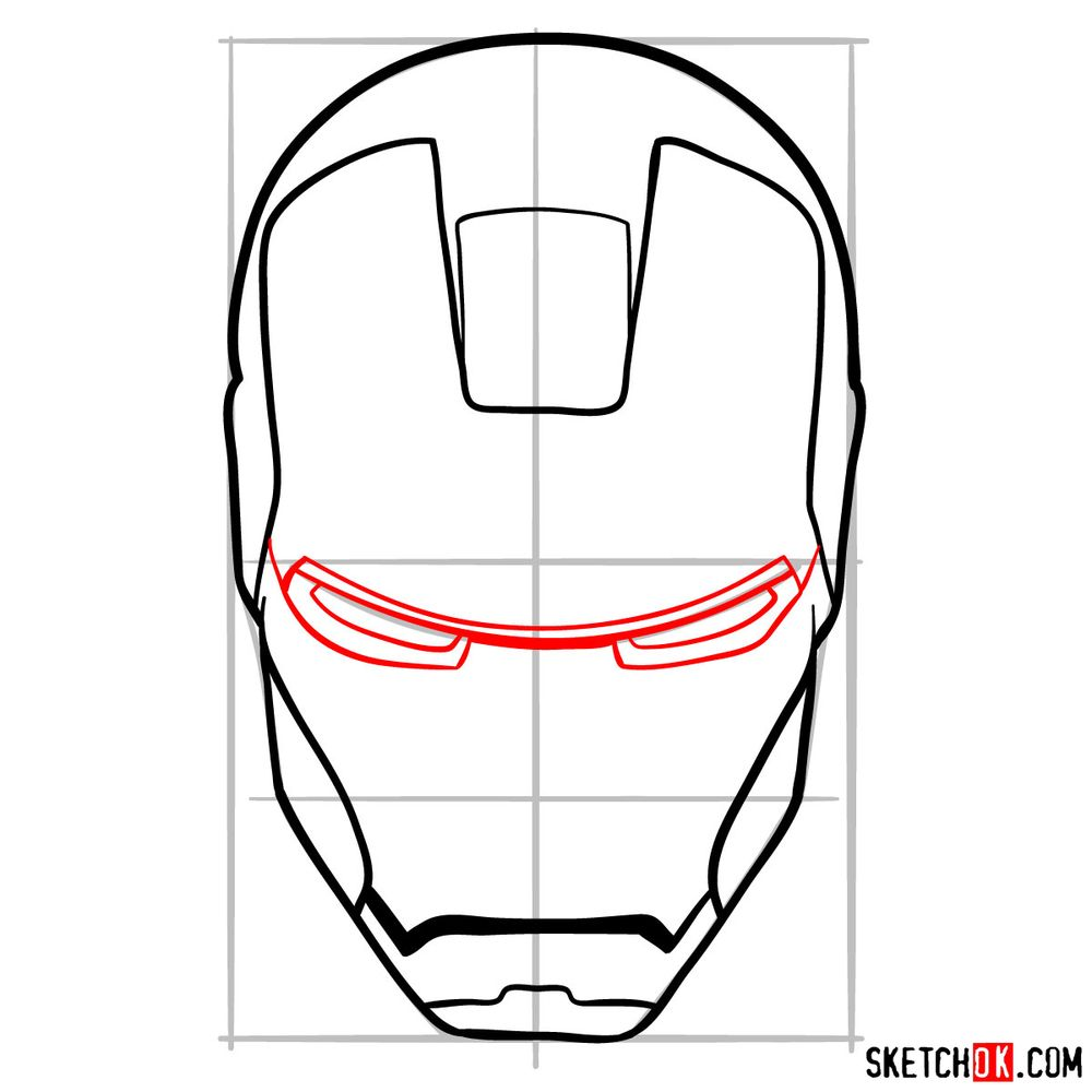 How to draw an Iron Man mask - step 08