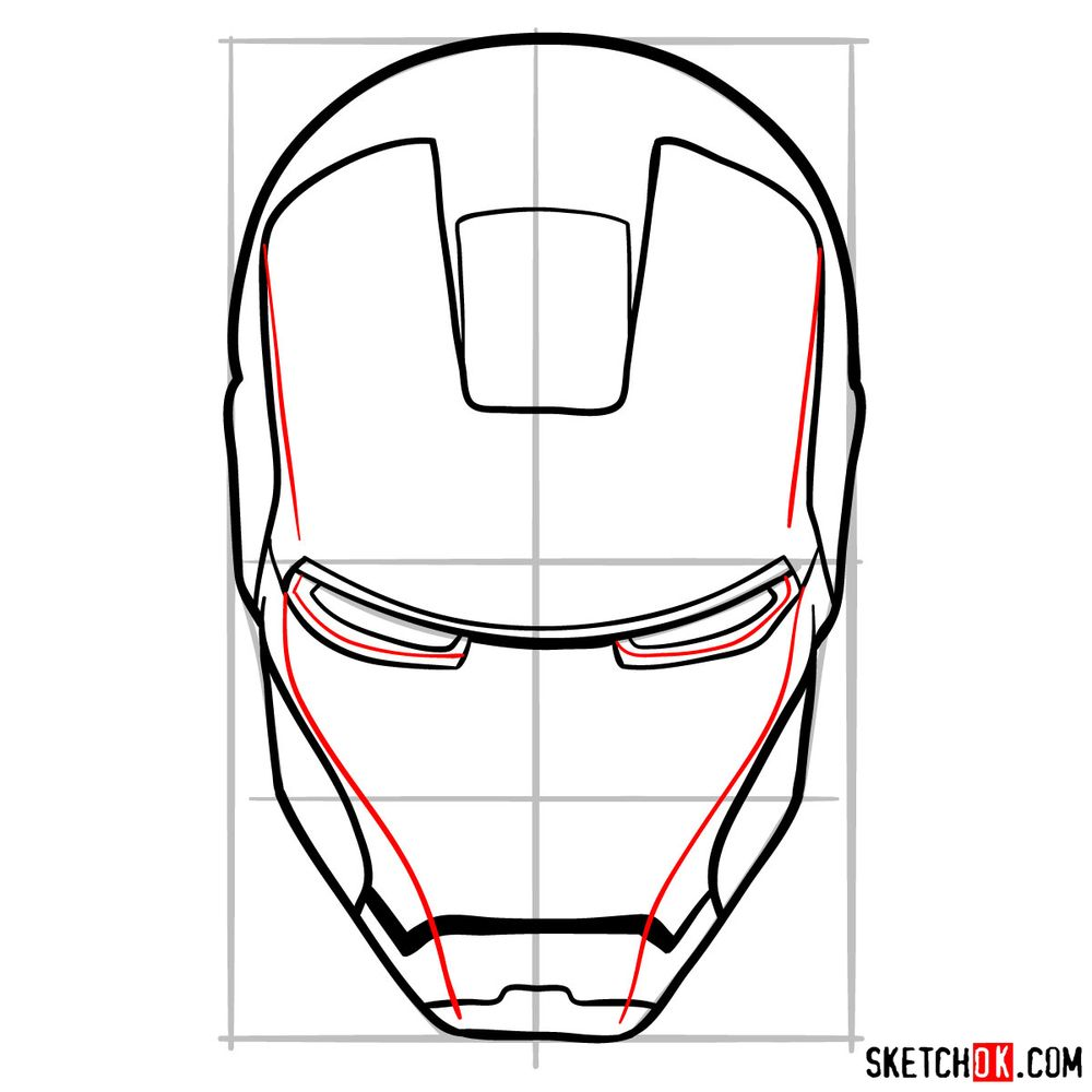 How to draw an Iron Man mask - step 09