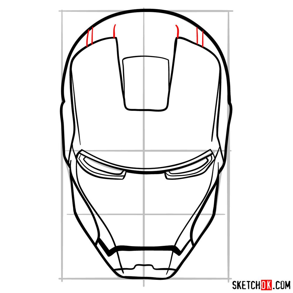 How to draw an Iron Man mask - step 10