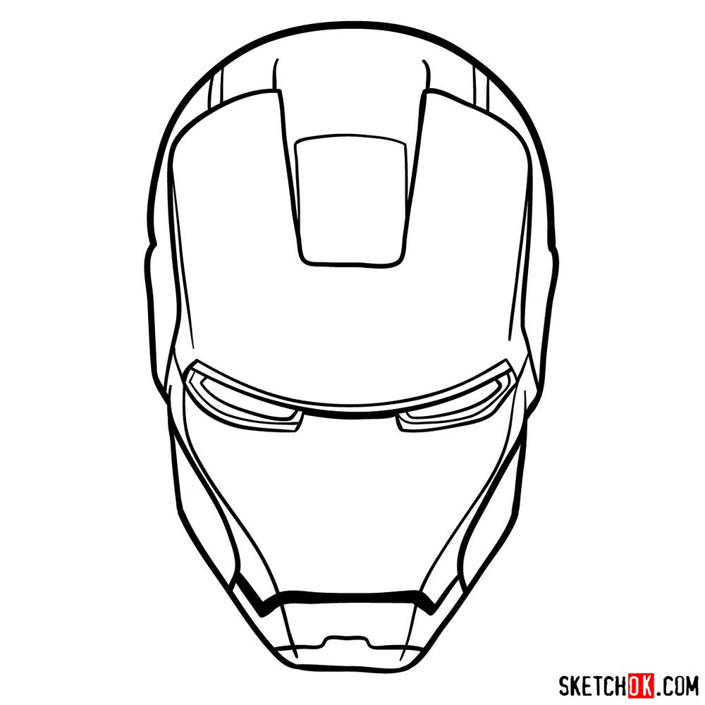 How to draw an Iron Man mask - step 11