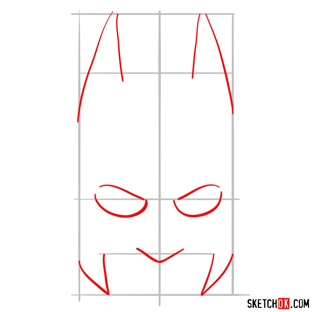 How to draw a Batman mask - step 02