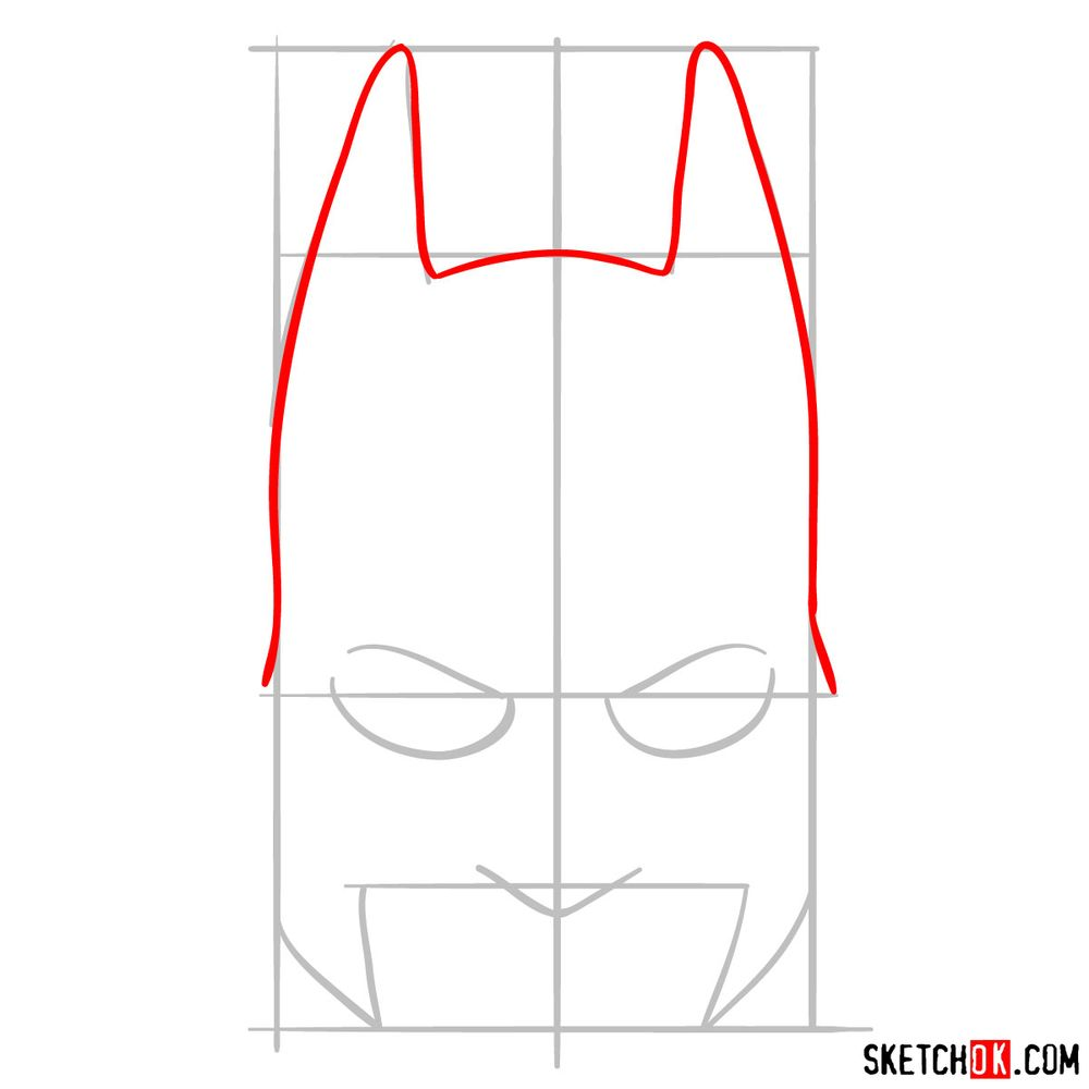 How to draw a Batman mask - step 03