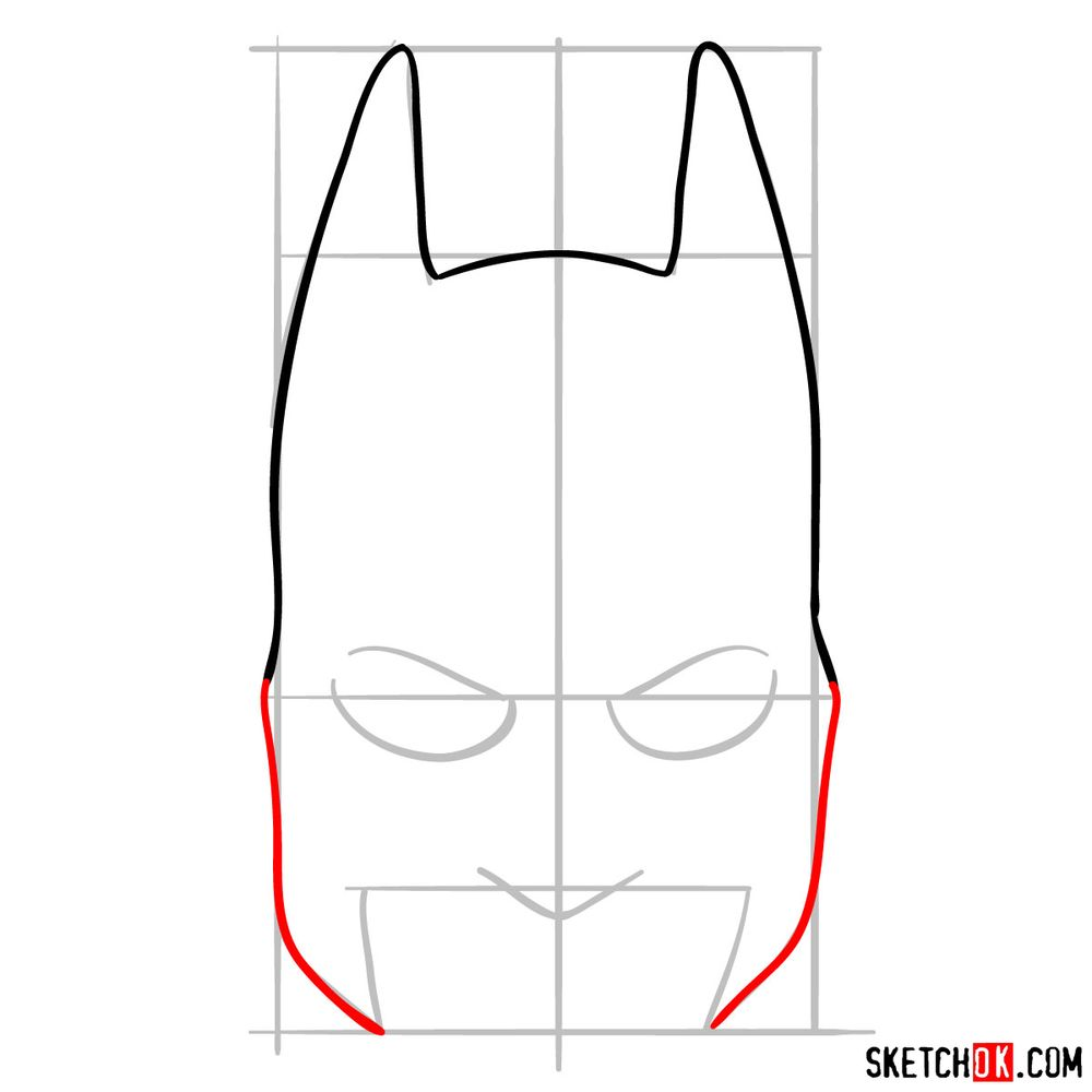How to draw a Batman mask - step 04