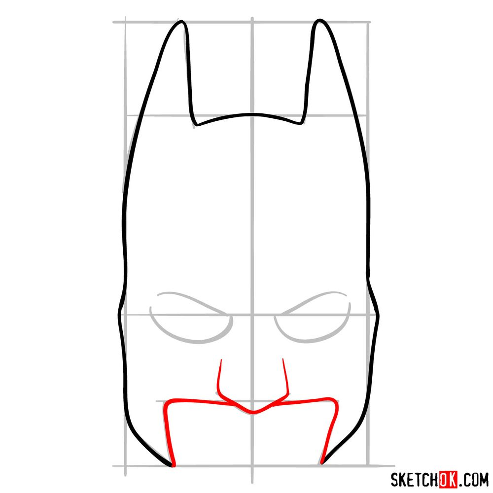 How to draw a Batman mask - step 05