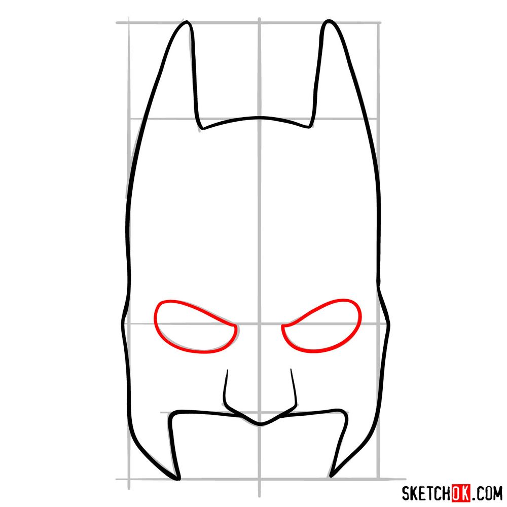 How to draw a Batman mask - step 06