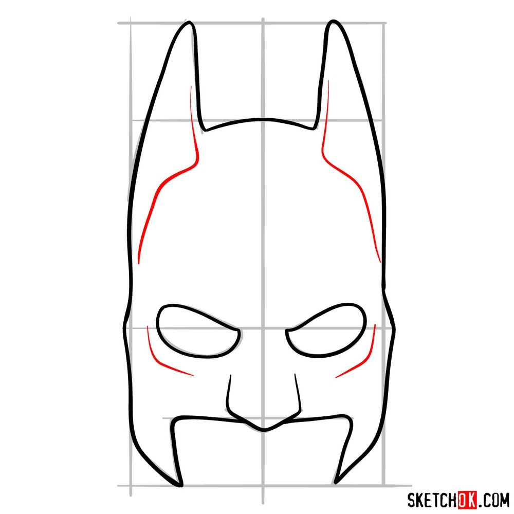 How to draw a Batman mask - step 07