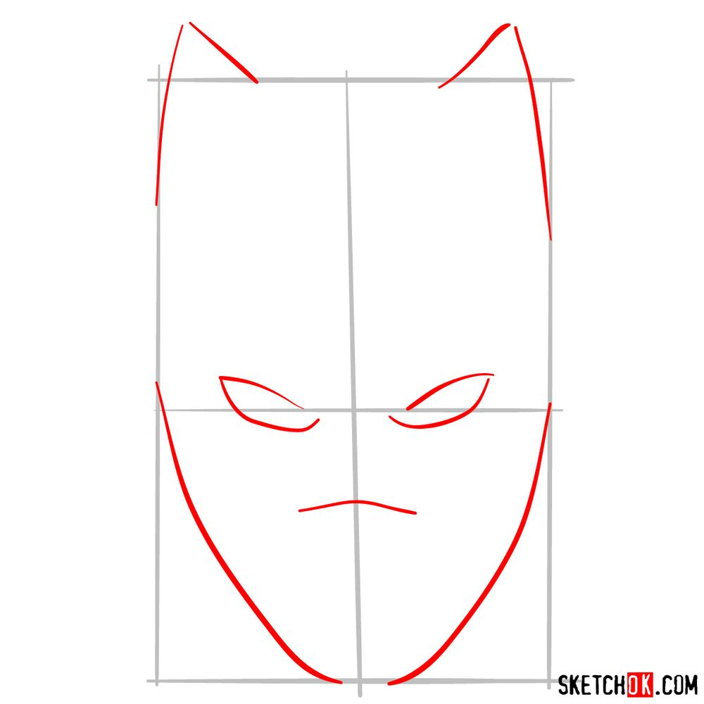 How to draw a Black Panther mask - step 02