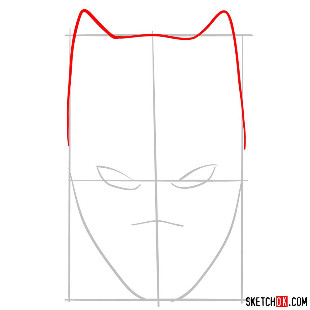 How to draw a Black Panther mask - step 03