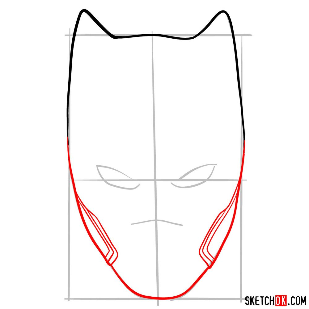 How to draw a Black Panther mask - step 04