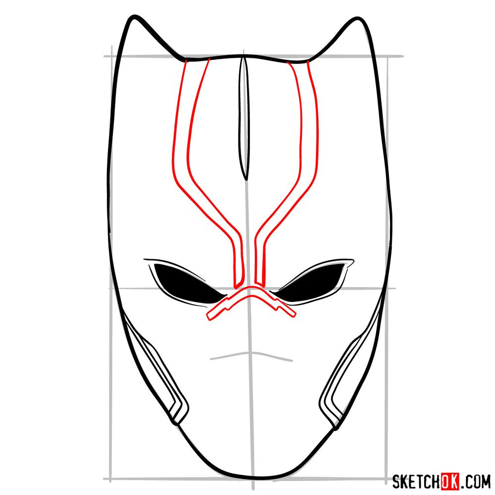 How to draw a Black Panther mask - step 06