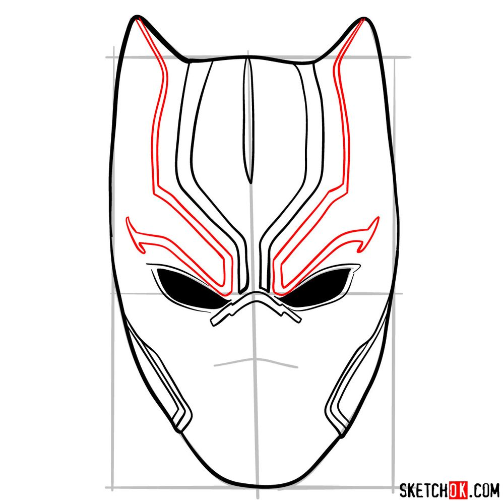 How to draw a Black Panther mask - step 07