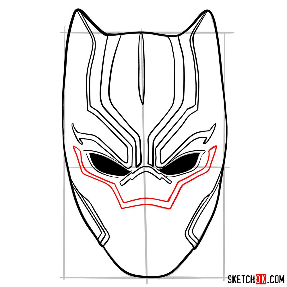 How to draw a Black Panther mask - step 08