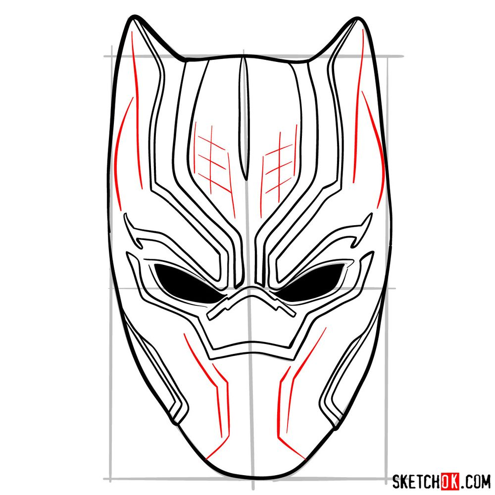 How to draw a Black Panther mask - step 09
