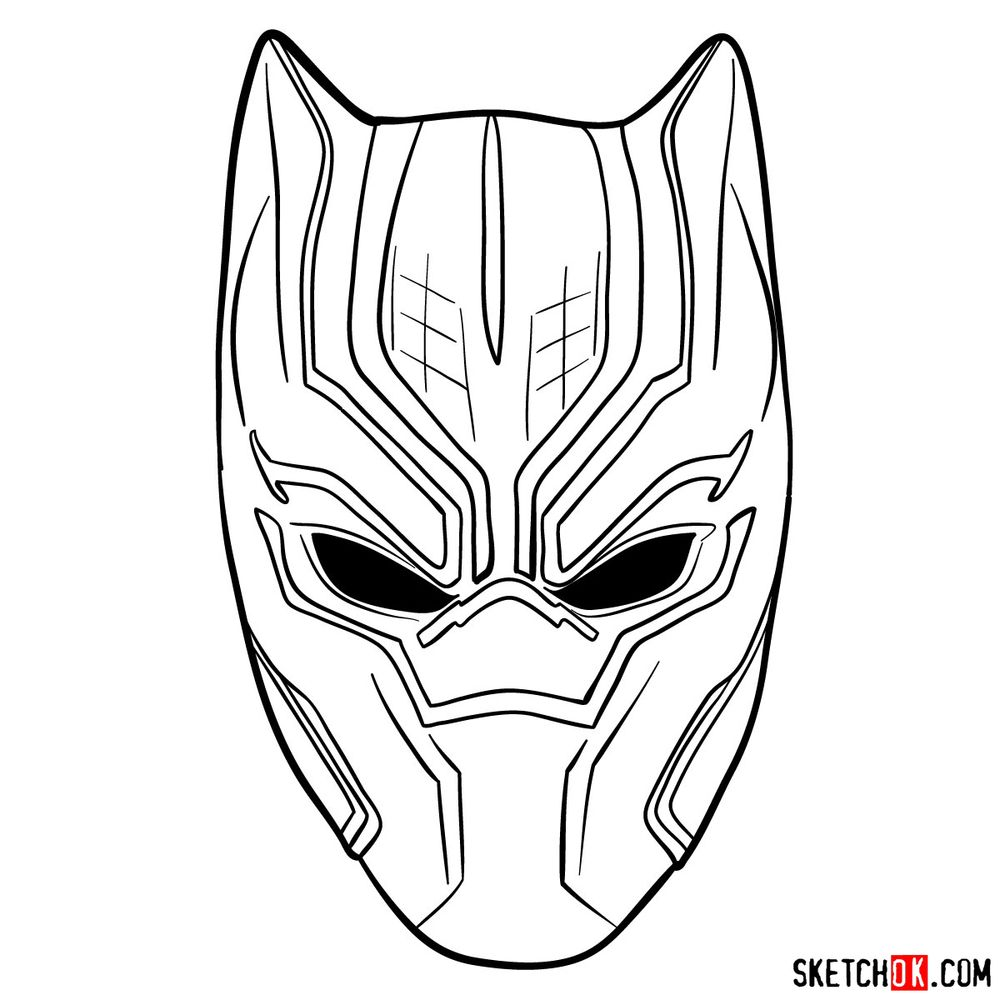 How to draw a Black Panther mask