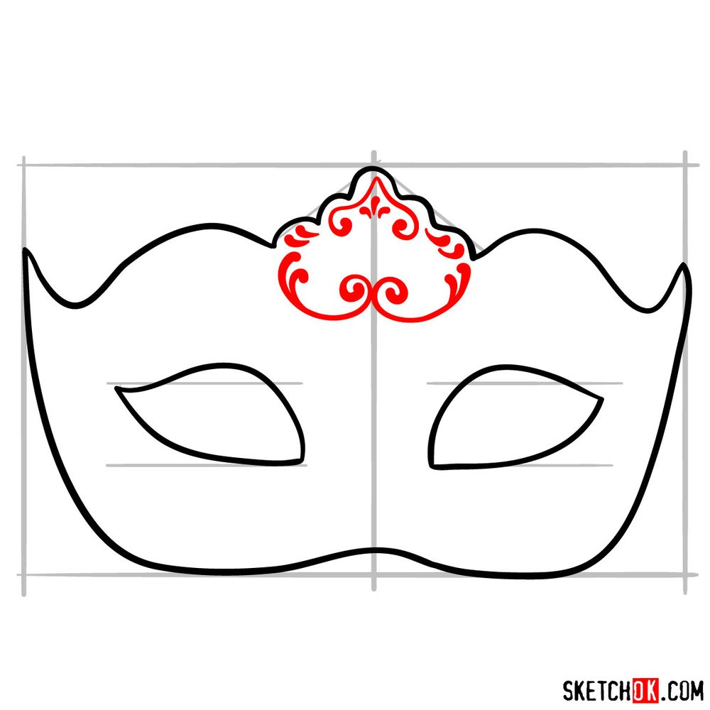 How to draw a Venetian carnival mask - step 07